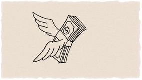 Money Bundle Flying Watercolor 2D Animation. 2d Animation motion graphics showing a watercolor of a dollar, banknote or money bundle with wings flying on stock illustration