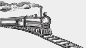 Steam Locomotive Train Watercolor 2D Animation
