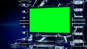 3d animation news reporting screen television or media program interface with mechanical stage chroma key green screen background. Seamless 3d animation news stock video