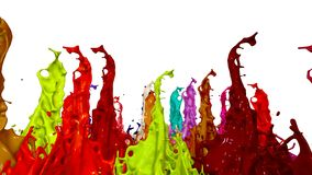 3d animation of paint splashes on a musical speaker that play music. 3d splashes of liquid. Paint bounce in 4k on white. Background stock illustration