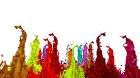 3d animation of paint splashes on a musical speaker that play music. 3d splashes of liquid. Paint bounce in 4k on white. Background royalty free illustration
