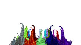 3d animation of paint splashes on a musical speaker that play music. 3d splashes of liquid. Paint bounce in 4k on white vector illustration