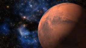 3D Animation of the Planet Mars Spinning over Galaxy