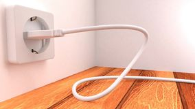 3D animation of a plug entering a socket. In a snake-like motion, switching on the lights as it enters stock illustration