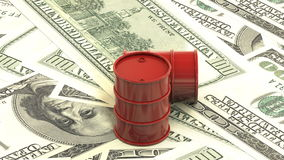 3d animation: Red barrels of oil lie on the background of dollar money. Petroleum business, black gold, gasoline production. Purch