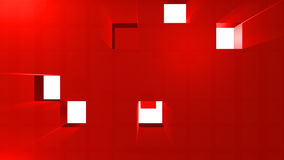 3D animation of red cubes going straight on. In HD