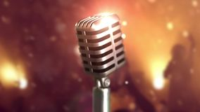 Retro microphone stage. Close up vintage microphone on stage. Old microphone on light background. 3d animation of a Retro microphone stage. Close up vintage stock video footage