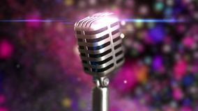 Retro microphone stage. Close up vintage microphone on stage. Old microphone on light background. 3d animation of a Retro microphone stage. Close up vintage stock footage