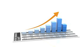 3d animation of rising business chart stock illustration
