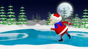 3D Animation Santa on the Skates stock video