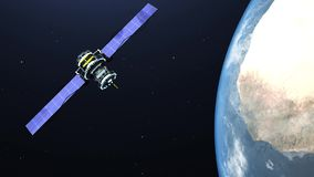 Satellite flying over the earth in space - 4K resolution video stock footage