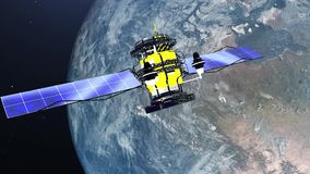 Satellite flying over the earth in space - 4K resolution video stock video footage