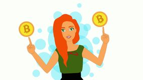 2D animation, smiling Caucasian redhead woman standing with hands up, holding Bitcoin signs on fingers. Trading, online