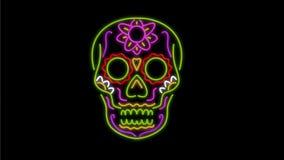 2D Animation Sugar Skull Neon Signs stock video footage