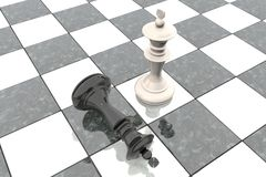 3d animation: Two chess figures on the playing field. White king is a winner and a loser black lies prostrate at his feet. Falling. Marble Board game. Business Stock Image