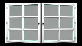 3D animation of a white window with glass front view that opens and closes. This sequence can be used as a transition effect