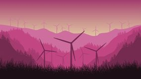 2d animation wind turbines on a mountains background in the forest. stock illustration