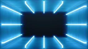 3D animazione avvolta, interno blu astratto senza cuciture della stanza con le lampade al neon d'ardore blu, lampade fluorescenti illustrazione vettoriale