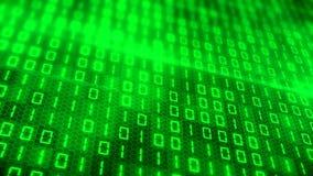 3d animering - grön binär kod arkivfilmer