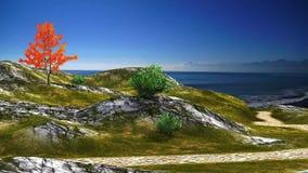 3D animou a paisagem do trajeto ao mar com céu azul e oceano ilustração do vetor