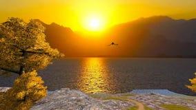 3d animował krajobraz jezioro i góry z latającym gołębiem ilustracja wektor