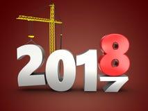 3d 2018 anni con la gru Fotografia Stock Libera da Diritti