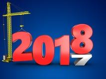 3d 2018 anni con la gru Fotografia Stock