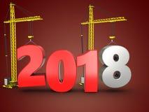 3d 2018 anni con la gru Immagine Stock Libera da Diritti