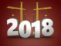 3d 2018 anni con la gru Immagini Stock