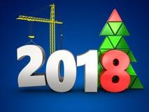 3d 2018 anni con la gru Immagini Stock Libere da Diritti