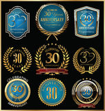 Or d'anniversaire et collection de labels de bleu, 30 ans Photo stock