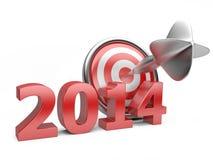 3D anno rosso 2014 con un obiettivo Immagine Stock