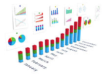 3d annual diagram with wall of charts Stock Photos