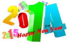 2014 3D. Annum to 2014 drifting various in the air in the background Stock Photo