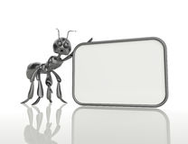 3D ant holding a blank board .Concept Stock Photography