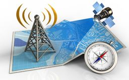 3d antenna. 3d illustration of city map with antenna and satellite Royalty Free Stock Photography