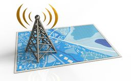 3d antenna. 3d illustration of blue map with antenna and Stock Photos