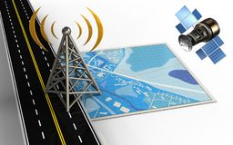 3d antenna. 3d illustration of blue map with antenna and royalty free illustration