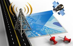 3d antenna. 3d illustration of blue map with antenna and red pins Stock Photo