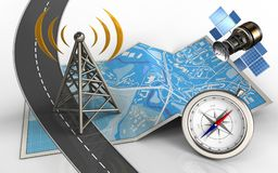3d antenna. 3d illustration of city map with antenna and compass stock illustration