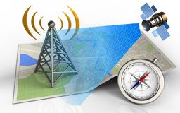 3d antenna. 3d illustration of map paper with antenna and satellite digital signal vector illustration