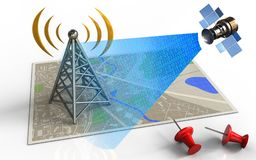 3d antenna. 3d illustration of map with antenna and satellite digital signal royalty free illustration