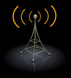 3d antenna. 3d illustration of antenna over black background Stock Image