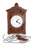 3d antique cuckoo wall clock 2. 3d made antique cuckoo wall clock front Royalty Free Stock Images