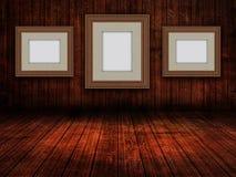 3D anulam molduras para retrato em um interior da sala do grunge ilustração do vetor