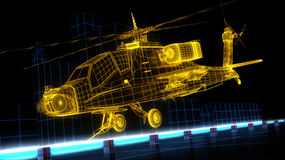 3d Apache helicopter wire frame render Stock Photo