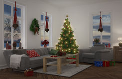 3d - apartment decorated for christmas - night Stock Photos