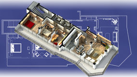 3d apartment interior on a blueprint. 3D illustration of a furnished residential apartment, on a generic blueprint, showing the living room, dining room, foyer Royalty Free Stock Photos