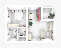 3D Apartment. 3D of interior apartment roofless Royalty Free Stock Images