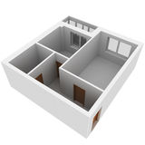 3d apartment plan. Isolated render on a white background Royalty Free Stock Photo